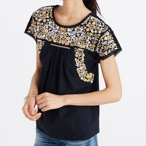 Madewell Embroidered Springtime Top in True Black